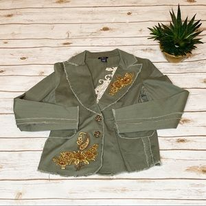 CELL Jackets & Coats - CELL  Distressed Raw Edge Appliqué Olive Blazer M